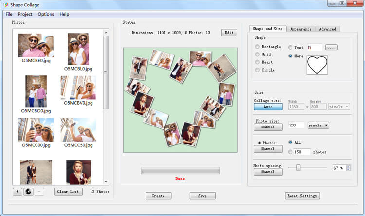 Shape Collage Automatic Photo Collage Maker
